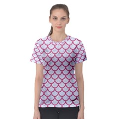 Scales1 White Marble & Pink Denim (r) Women s Sport Mesh Tee