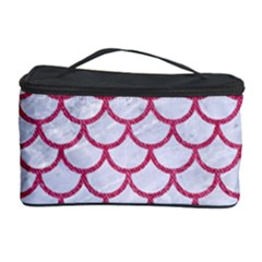 Scales1 White Marble & Pink Denim (r) Cosmetic Storage Case
