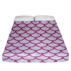 Scales1 White Marble & Pink Denim (r) Fitted Sheet (queen Size)