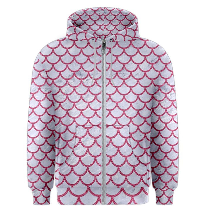SCALES1 WHITE MARBLE & PINK DENIM (R) Men s Zipper Hoodie