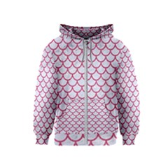 Scales1 White Marble & Pink Denim (r) Kids  Zipper Hoodie