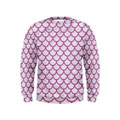 Scales1 White Marble & Pink Denim (r) Kids  Sweatshirt