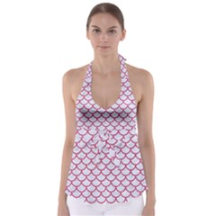 Scales1 White Marble & Pink Denim (r) Babydoll Tankini Top