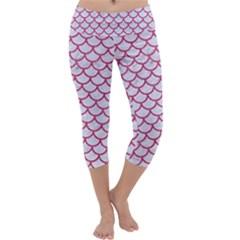 Scales1 White Marble & Pink Denim (r) Capri Yoga Leggings