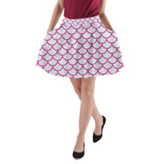 Scales1 White Marble & Pink Denim (r) A Line Pocket Skirt