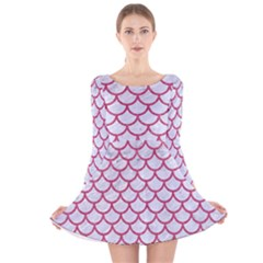 Scales1 White Marble & Pink Denim (r) Long Sleeve Velvet Skater Dress
