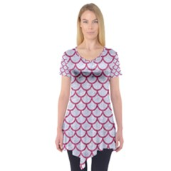 Scales1 White Marble & Pink Denim (r) Short Sleeve Tunic