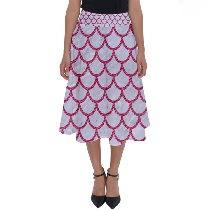 SCALES1 WHITE MARBLE & PINK DENIM (R) Perfect Length Midi Skirt