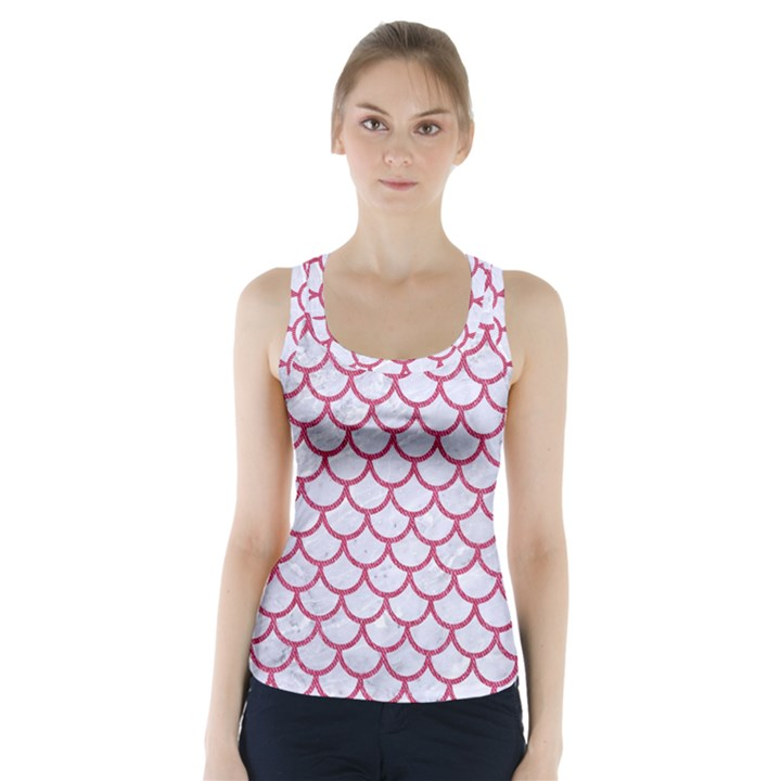 SCALES1 WHITE MARBLE & PINK DENIM (R) Racer Back Sports Top