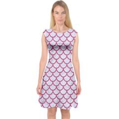 Scales1 White Marble & Pink Denim (r) Capsleeve Midi Dress