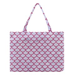 Scales1 White Marble & Pink Denim (r) Medium Tote Bag