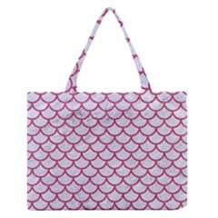 Scales1 White Marble & Pink Denim (r) Zipper Medium Tote Bag