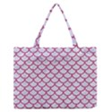 SCALES1 WHITE MARBLE & PINK DENIM (R) Zipper Medium Tote Bag View1