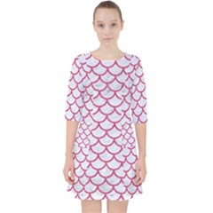 Scales1 White Marble & Pink Denim (r) Pocket Dress