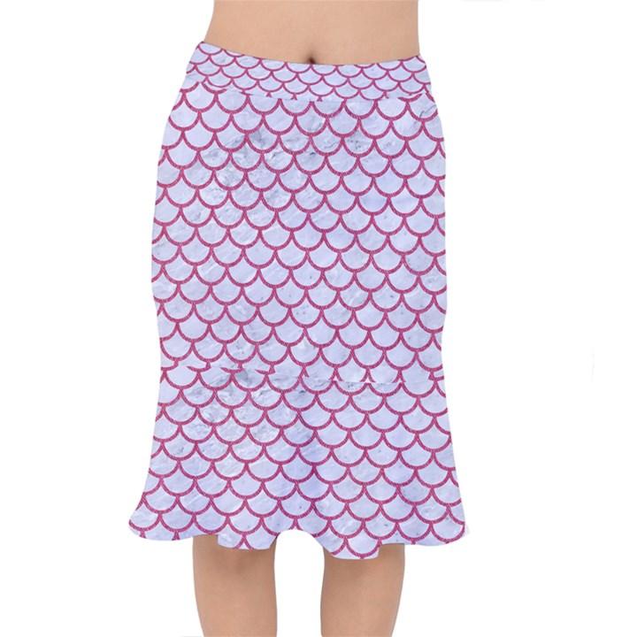 SCALES1 WHITE MARBLE & PINK DENIM (R) Mermaid Skirt