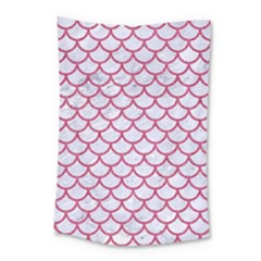 Scales1 White Marble & Pink Denim (r) Small Tapestry
