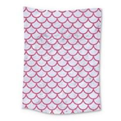 Scales1 White Marble & Pink Denim (r) Medium Tapestry