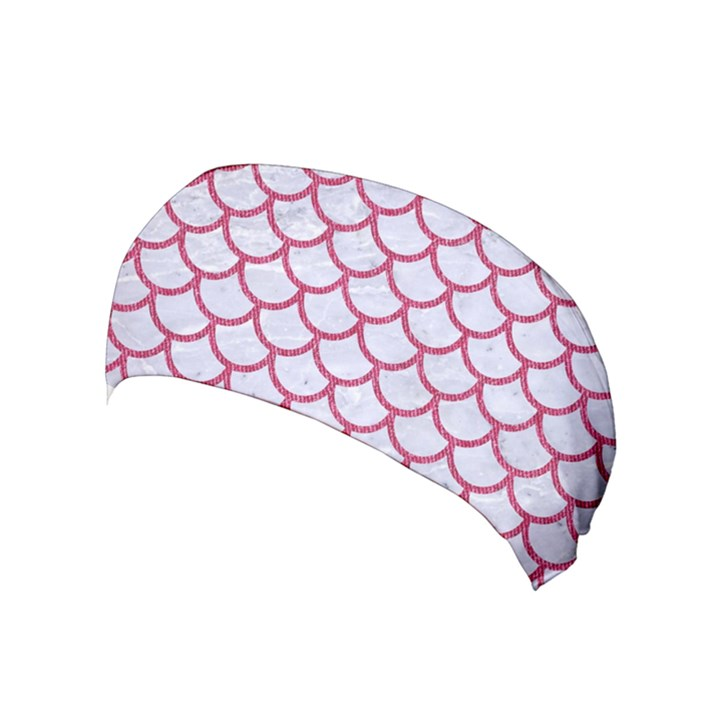 SCALES1 WHITE MARBLE & PINK DENIM (R) Yoga Headband