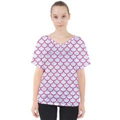 Scales1 White Marble & Pink Denim (r) V Neck Dolman Drape Top