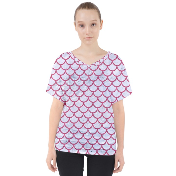 SCALES1 WHITE MARBLE & PINK DENIM (R) V-Neck Dolman Drape Top