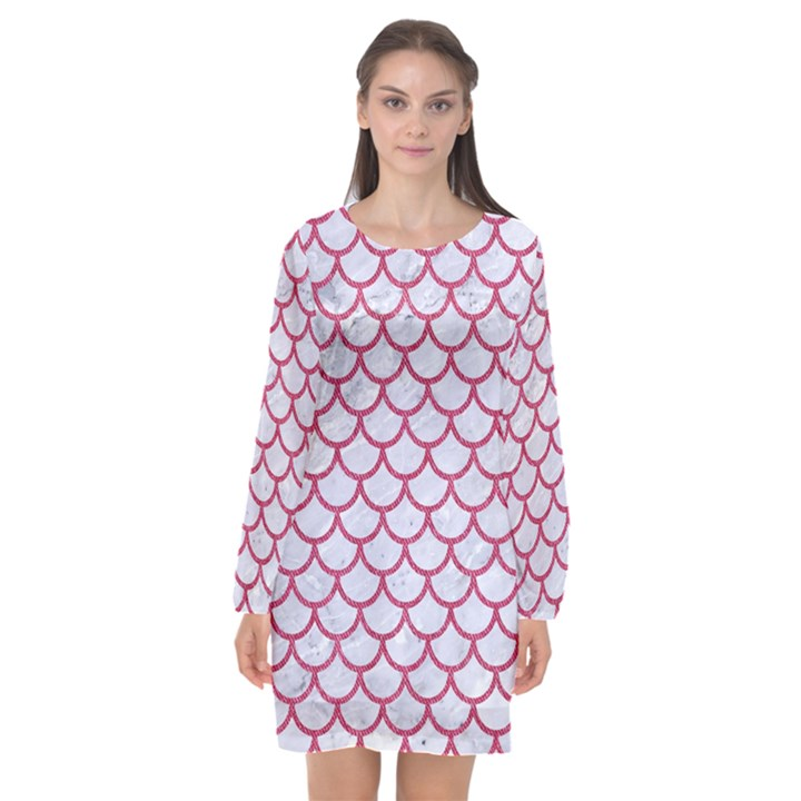 SCALES1 WHITE MARBLE & PINK DENIM (R) Long Sleeve Chiffon Shift Dress