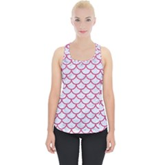 Scales1 White Marble & Pink Denim (r) Piece Up Tank Top