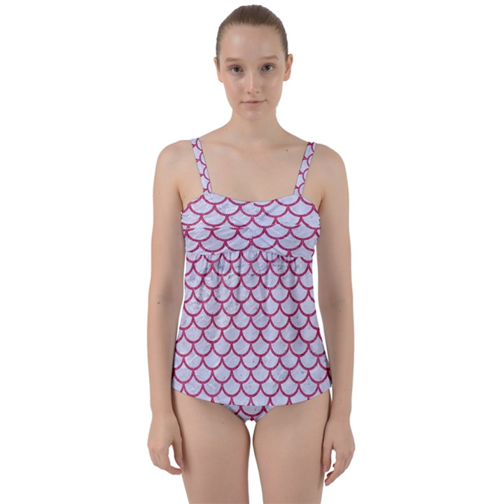SCALES1 WHITE MARBLE & PINK DENIM (R) Twist Front Tankini Set