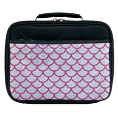 Scales1 White Marble & Pink Denim (r) Lunch Bag