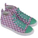 SCALES1 WHITE MARBLE & PINK DENIM (R) Women s Mid-Top Canvas Sneakers View3
