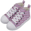 SCALES1 WHITE MARBLE & PINK DENIM (R) Kid s Mid-Top Canvas Sneakers View2