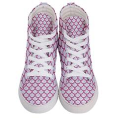 Scales1 White Marble & Pink Denim (r) Women s Hi Top Skate Sneakers