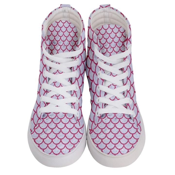 SCALES1 WHITE MARBLE & PINK DENIM (R) Women s Hi-Top Skate Sneakers