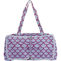 Scales1 White Marble & Pink Denim (r) Multi Function Bag