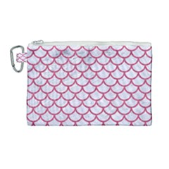 Scales1 White Marble & Pink Denim (r) Canvas Cosmetic Bag (large)