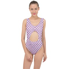 Scales1 White Marble & Pink Denim (r) Center Cut Out Swimsuit