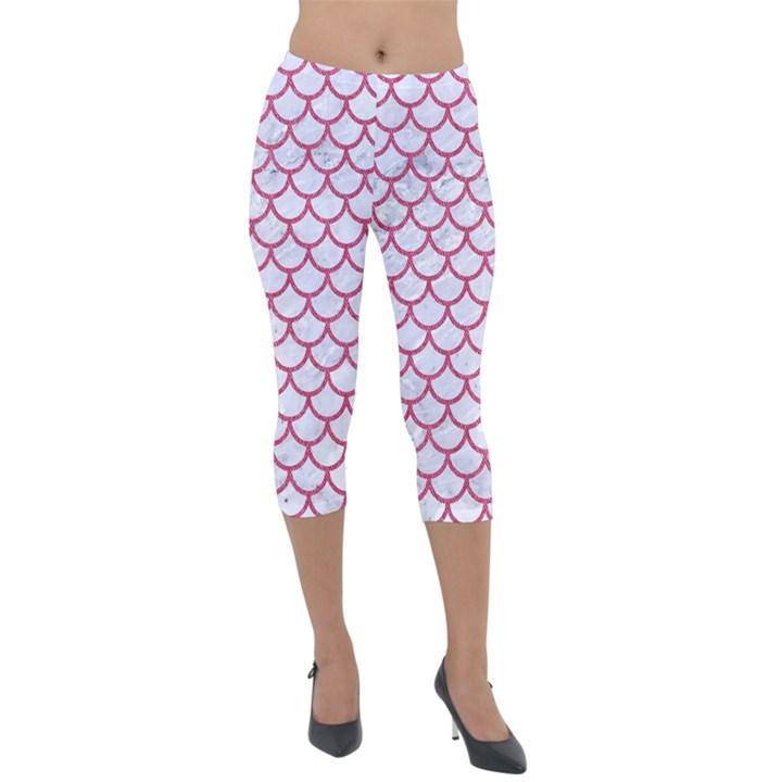 SCALES1 WHITE MARBLE & PINK DENIM (R) Lightweight Velour Capri Leggings