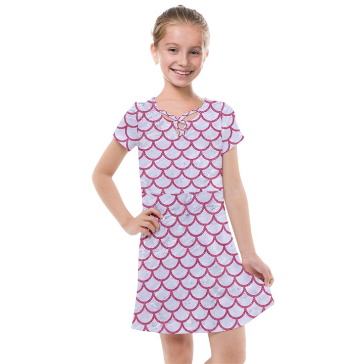 SCALES1 WHITE MARBLE & PINK DENIM (R) Kids  Cross Web Dress