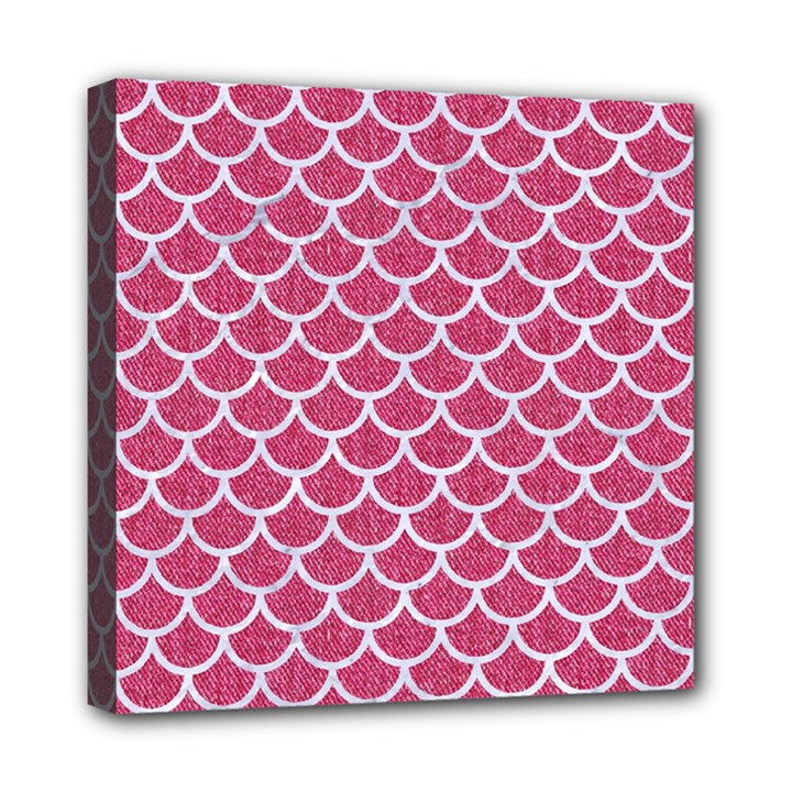 SCALES1 WHITE MARBLE & PINK DENIM Mini Canvas 8  x 8