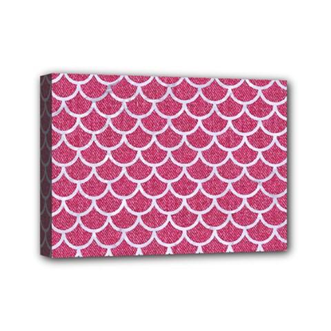 Scales1 White Marble & Pink Denim Mini Canvas 7  X 5