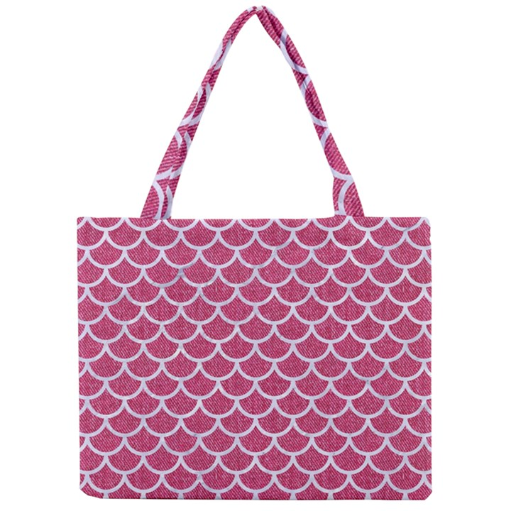 SCALES1 WHITE MARBLE & PINK DENIM Mini Tote Bag