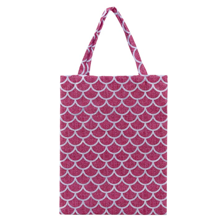 SCALES1 WHITE MARBLE & PINK DENIM Classic Tote Bag
