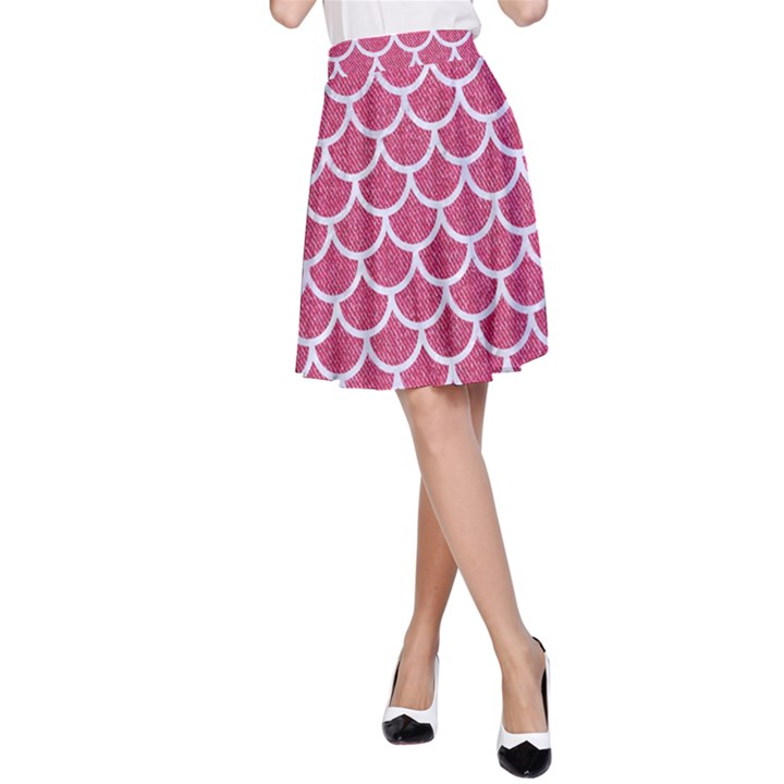 SCALES1 WHITE MARBLE & PINK DENIM A-Line Skirt