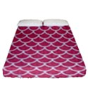 SCALES1 WHITE MARBLE & PINK DENIM Fitted Sheet (Queen Size) View1