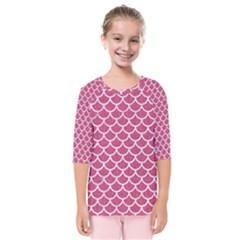 Scales1 White Marble & Pink Denim Kids  Quarter Sleeve Raglan Tee