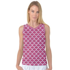 Scales1 White Marble & Pink Denim Women s Basketball Tank Top