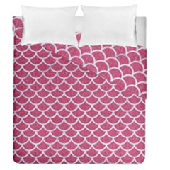 Scales1 White Marble & Pink Denim Duvet Cover Double Side (queen Size) by trendistuff