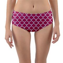Scales1 White Marble & Pink Denim Reversible Mid Waist Bikini Bottoms