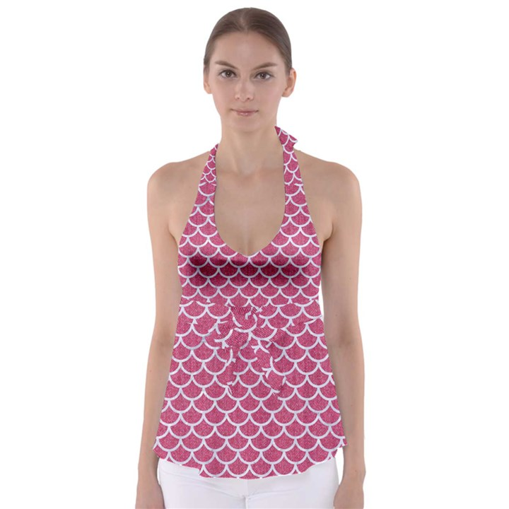 SCALES1 WHITE MARBLE & PINK DENIM Babydoll Tankini Top