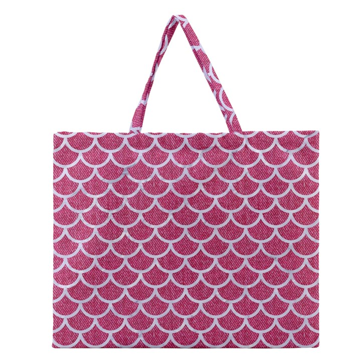SCALES1 WHITE MARBLE & PINK DENIM Zipper Large Tote Bag