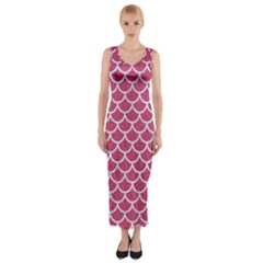Scales1 White Marble & Pink Denim Fitted Maxi Dress